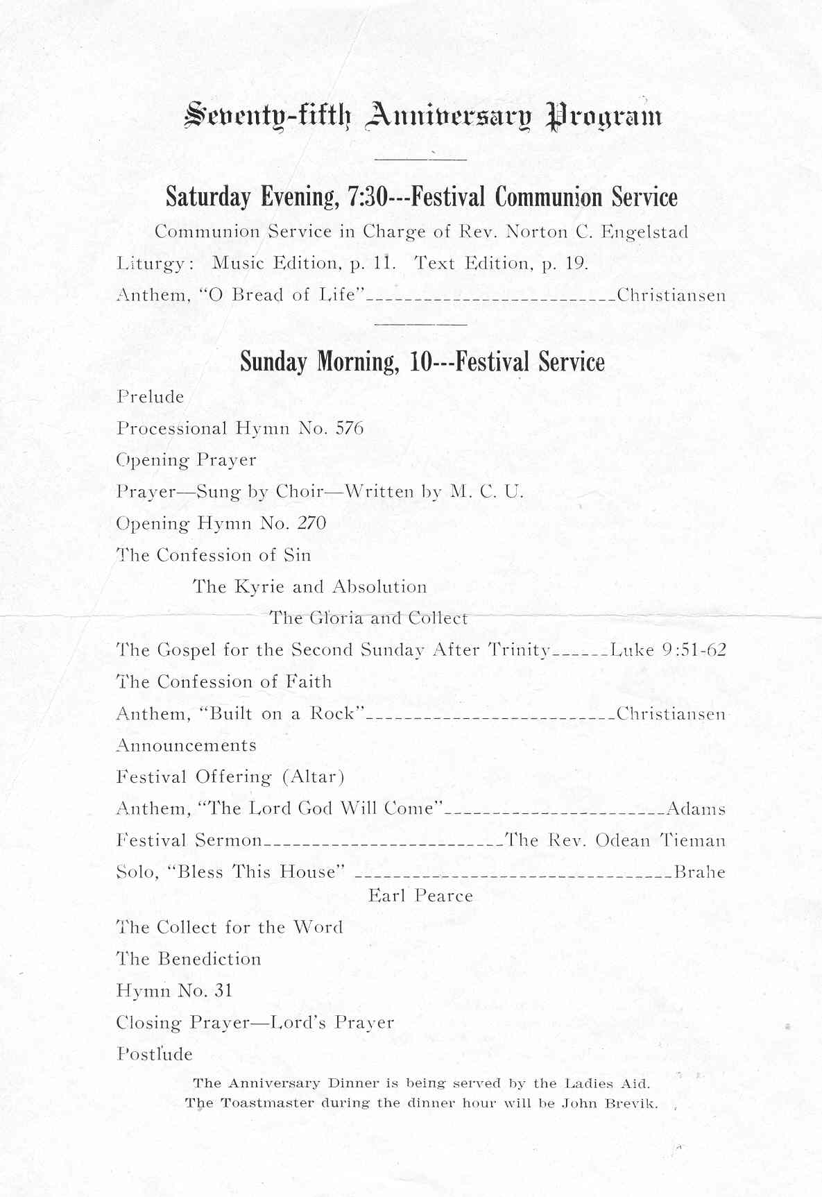 Pastors Anniversary Church Programs